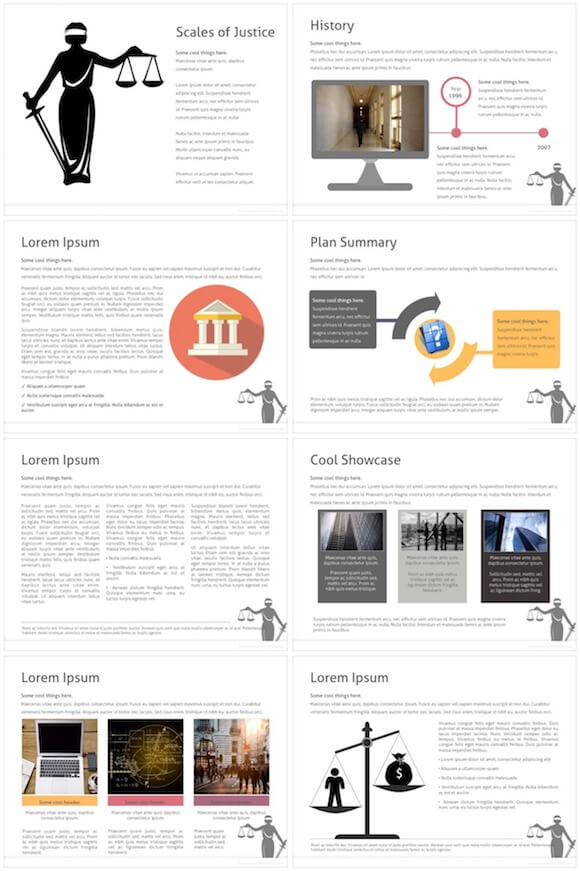 055 Scales Of Justice PowerPoint Template - Scales Of Justice