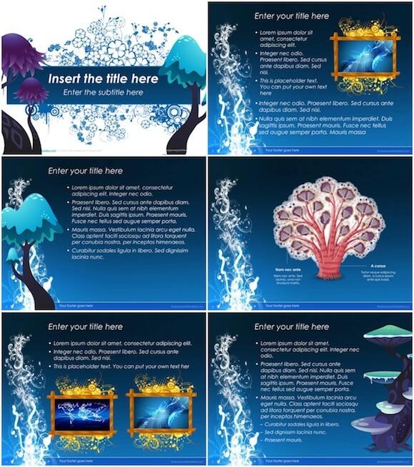 093 Creative PowerPoint Template - Blue Mushroom
