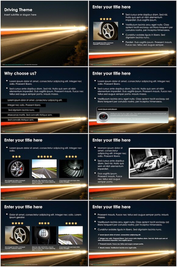 134 Drive PowerPoint Template - High Speed
