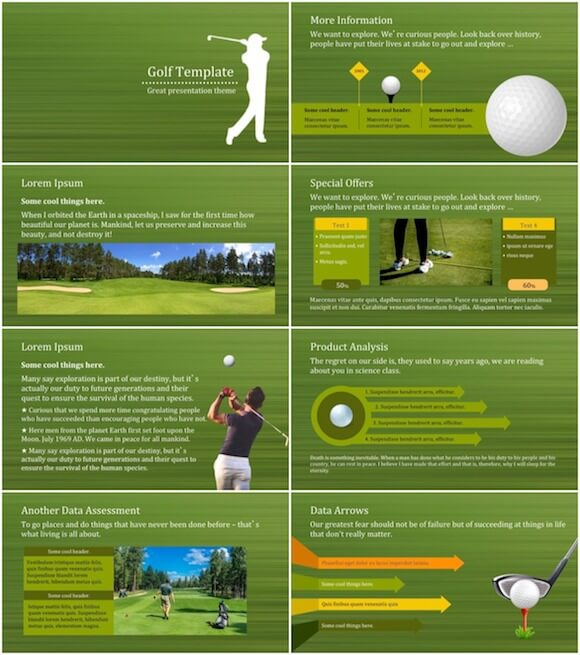 256 Golf PowerPoint Template - Golf