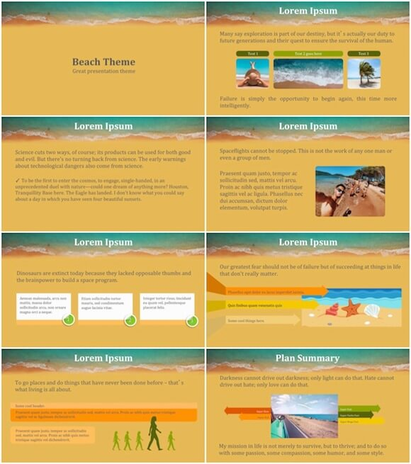 267 Summer Beach PowerPoint Template - Sunny Beach