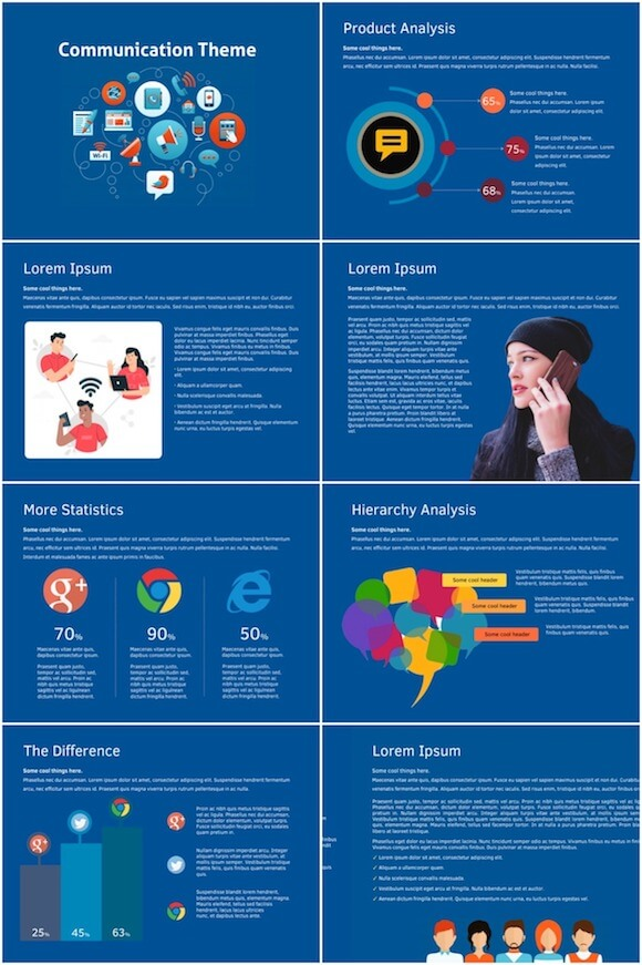 273 Communication PowerPoint Template - Social Communication